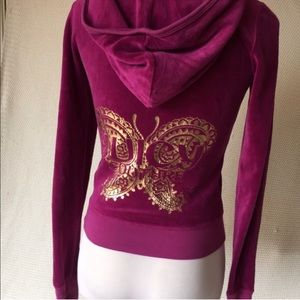 Purple Gold Butterfly Juicy Couture Hoodie Jacket